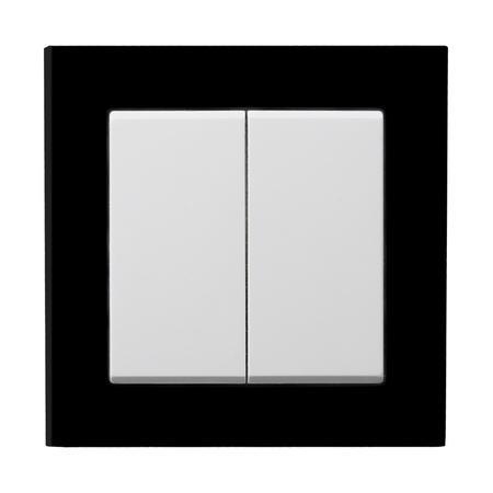 Łącznik dwugrupowy ŁP-2R/00 ramka z czarnego szkła seria Sonata OSPEL