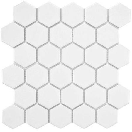 Mozaikowe płytki porcelanowe Hexagon duży, biały połysk Black&White MOZAIKOWE.PL