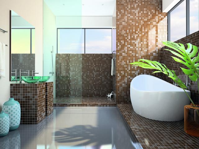 łazienka Z Wanną I Prysznicem Nowoczesne Wnętrze