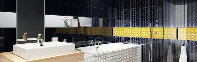 Płytki ceramiczne w aranżacji nowoczesnej łazienki – geometryczny wzór i zdecydowane kolory